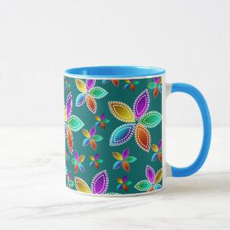 Colorful Bead Flowers Ringer Mug