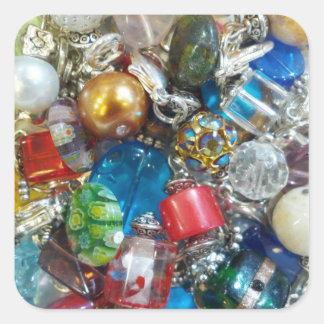 Colorful Bead Mix Square Sticker