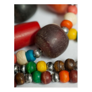Colorful beads in chains post card