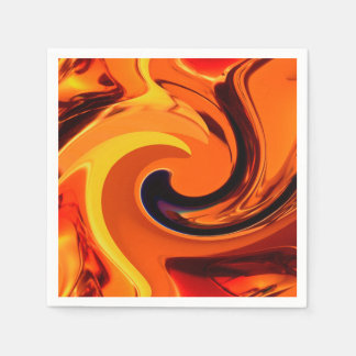 Colorful Beautiful Abstract Art Gold Swirl Paper Napkins