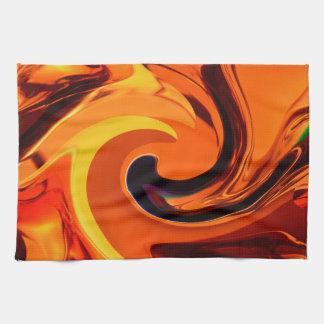 Colorful Beautiful Abstract Art Gold Swirl Tea Towel