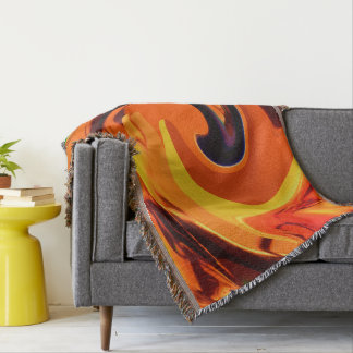Colorful Beautiful Abstract Art Gold Swirl Throw Blanket