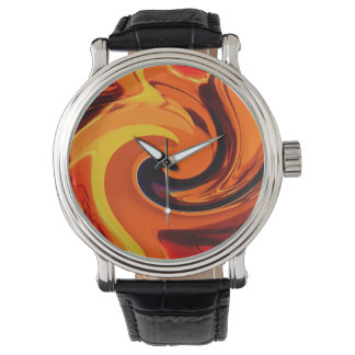 Colorful Beautiful Abstract Art Gold Swirl Watch