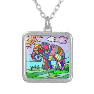 Colorful beautiful abstract folk art elephant silver plated necklace