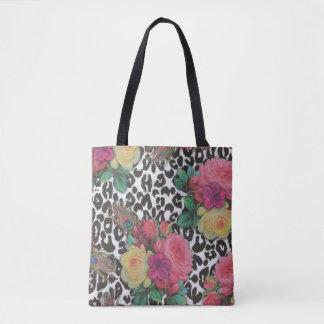 colorful beautiful flower cheetah tote bag