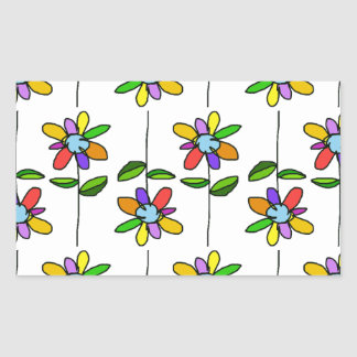 colorful & beautiful flowers pattern rectangle sticker