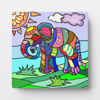 Colorful beautiful folcloristic artistic elephant plaque