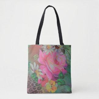 colorful beautiful rose flower cheetah tote bag
