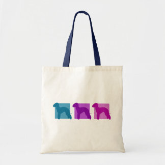 Colorful Bedlington Terrier Silhouettes Tote Bag