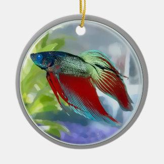 Colorful Betta Fish in a Bubble Round Ceramic Decoration