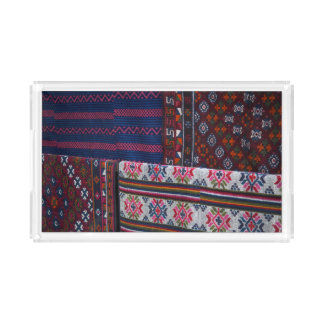 Colorful Bhutan Textiles Acrylic Tray