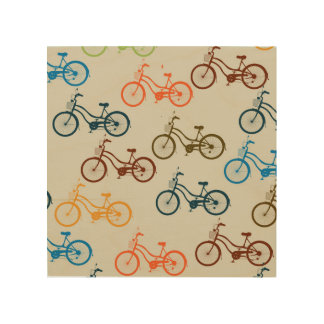 Colorful Bicycle Pattern Wood Prints