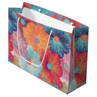 Colorful big flowers artistic floral background large gift bag