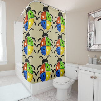 Colorful Big Ladybugs Pattern Shower Curtain