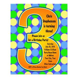 Colorful Big Number 3 Boy's Birthday Invitation 11.5 Cm X 14 Cm Flyer