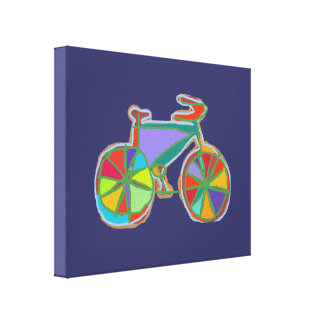 colorful bike decor wall stretched canvas prints