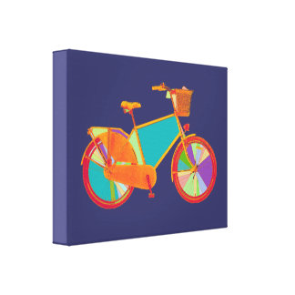 colorful bike decorative wall stretched canvas prints