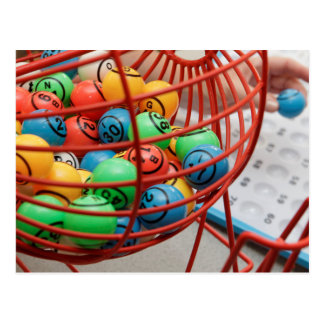 Colorful Bingo Balls in Spinner Postcard