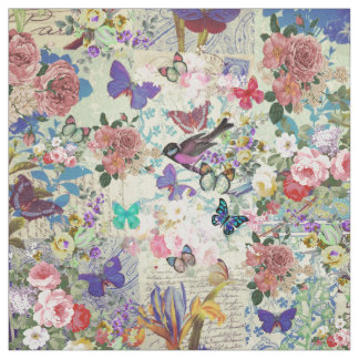 Colorful bird butterflies vintage floral pattern fabric