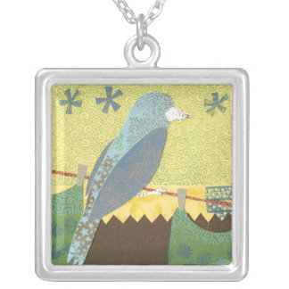 Colorful Bird on a Wire Silver Plated Necklace
