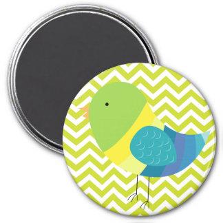 Colorful Bird on Green Chevron Stripe Pattern 7.5 Cm Round Magnet