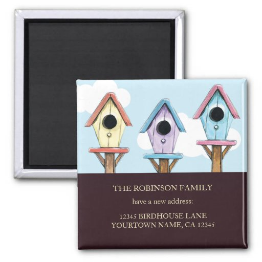 Colorful Birdhouses | New Address Keepsake Magnet