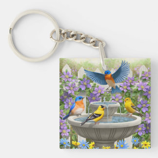 Colorful Birds and Bird Bath Flower Garden Double-Sided Square Acrylic Key Ring