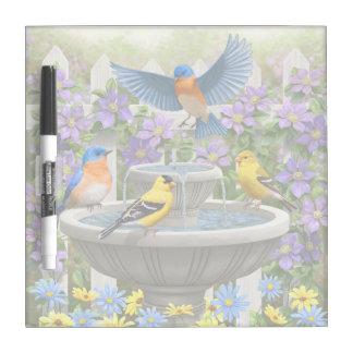 Colorful Birds and Bird Bath Flower Garden Dry Erase Board