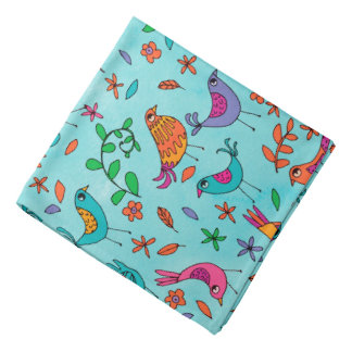 Colorful Birds and Flowers Bandana