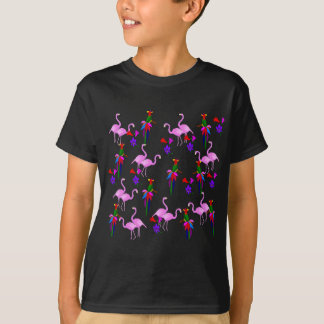 Colorful Birds and Pink Flamingos T-Shirt