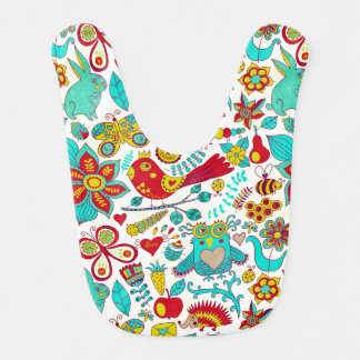 Colorful Birds Flowers And Bunny Rabbits Bib