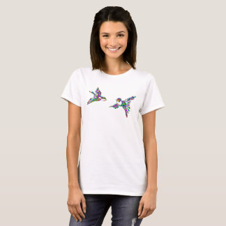 Colorful Birds In Flight Silhouette Novelty Tshirt