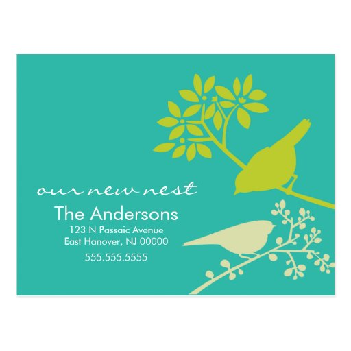 Colorful Birds Moving Announcements Post Card