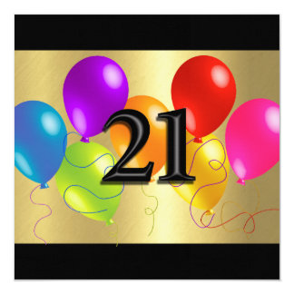 Colorful Birthday Balloons 21 Card