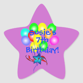 Colorful Birthday Balloons Star Sticker