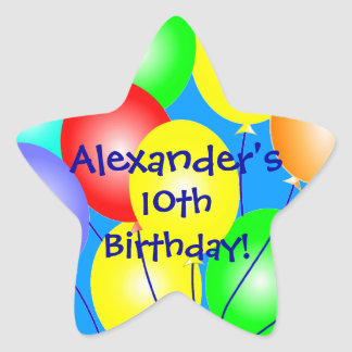 Colorful Birthday Balloons Star Stickers