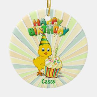 Colorful Birthday Chicken Cartoon Christmas Ornament