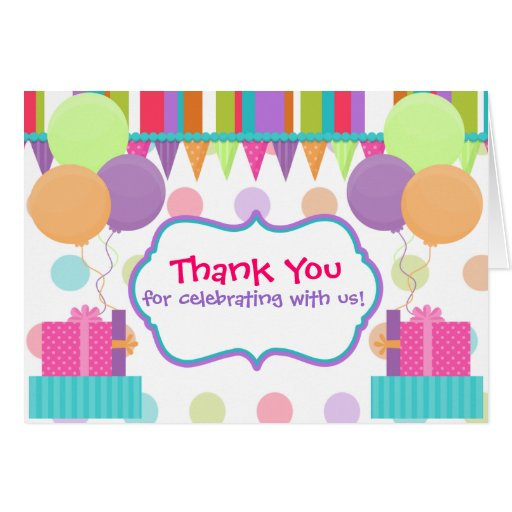 Colorful Birthday Thank You Card