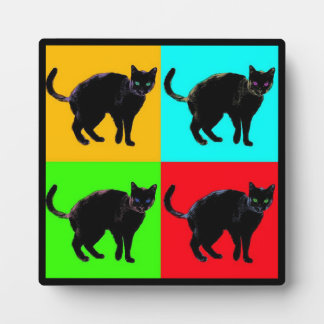 Colorful Black Cat Decor Plaque