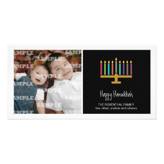 Colorful Black Menorah Hanukkah Card