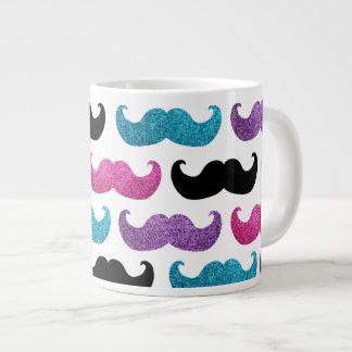 Colorful bling mustache pattern (Faux glitter) Large Coffee Mug