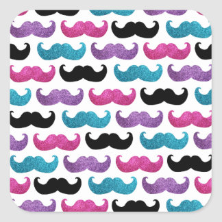 Colorful bling mustache pattern (Faux glitter) Square Sticker