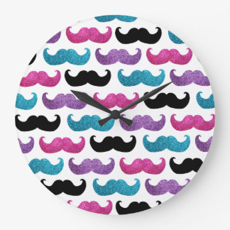 Colorful bling mustache pattern (Faux glitter) Wall Clock