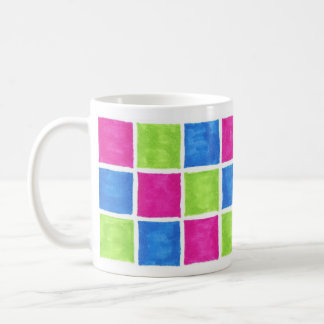 Colorful Blocks Pink, Green, Blue Basic White Mug