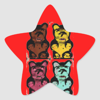Colorful Blood Sucking Gum Me? Bear Star Sticker