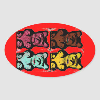 Colorful Blood Sucking Gum Me? Bears Oval Sticker