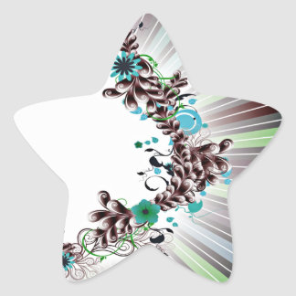 Colorful Blossom and Floral wedding gift Star Sticker
