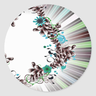 Colorful Blossom and Floral wedding gift Round Sticker