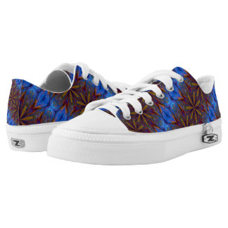 Colorful Blue and Gold Abstract Pattern Low Tops