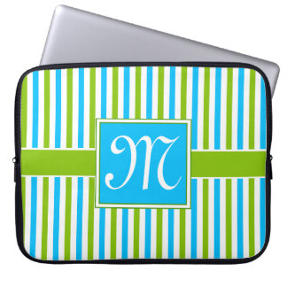 Colorful Blue and Green Stripe Pattern Monogram Laptop Sleeve